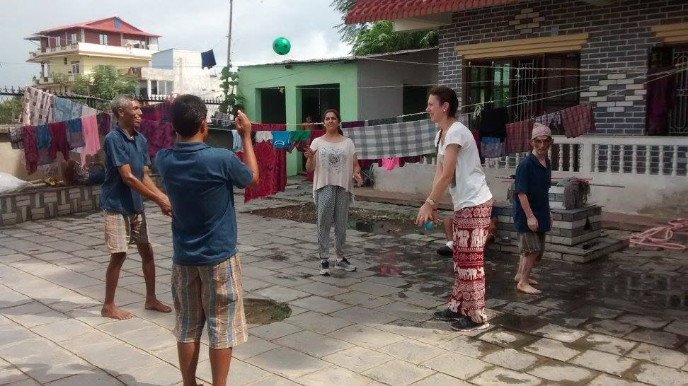 Raheesa volunteering at a home for disabled adults in Nepal