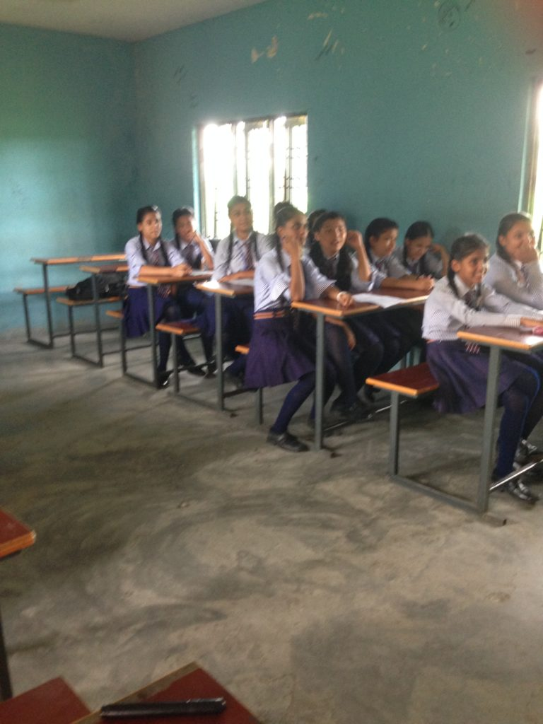 A lecture Raheesa gave to female high school students in Nepal on puberty and personal hygiene