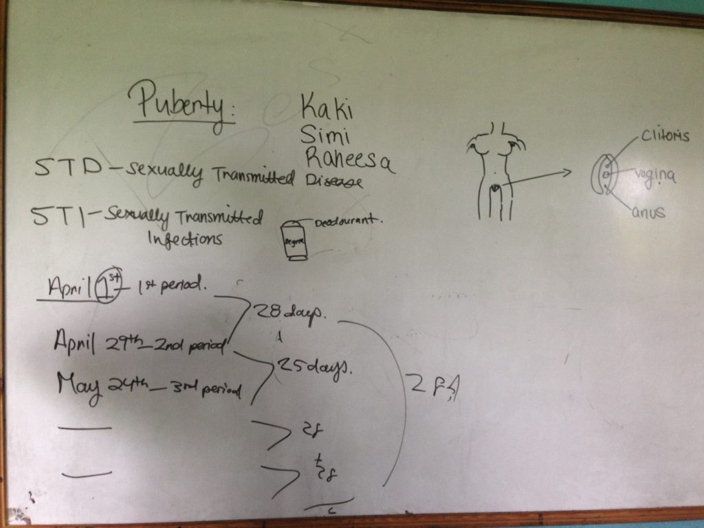 A lecture diagram Raheesa gave to female high school students in Nepal on puberty and personal hygiene