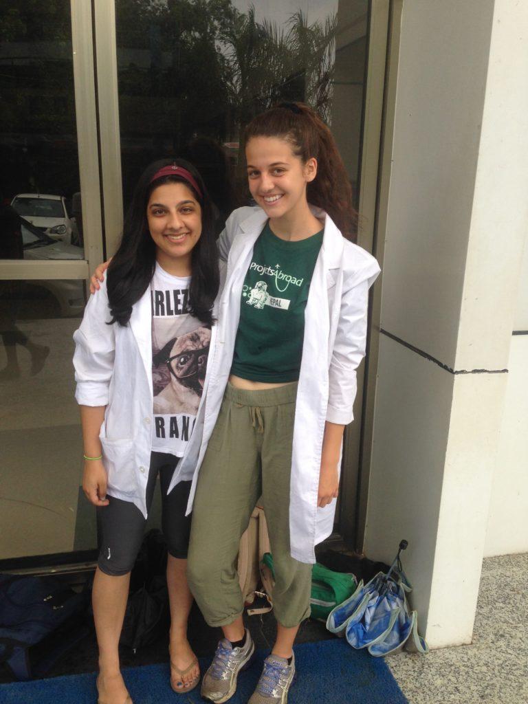 Raheesa & friend outside Chitwan Medical College in Nepal