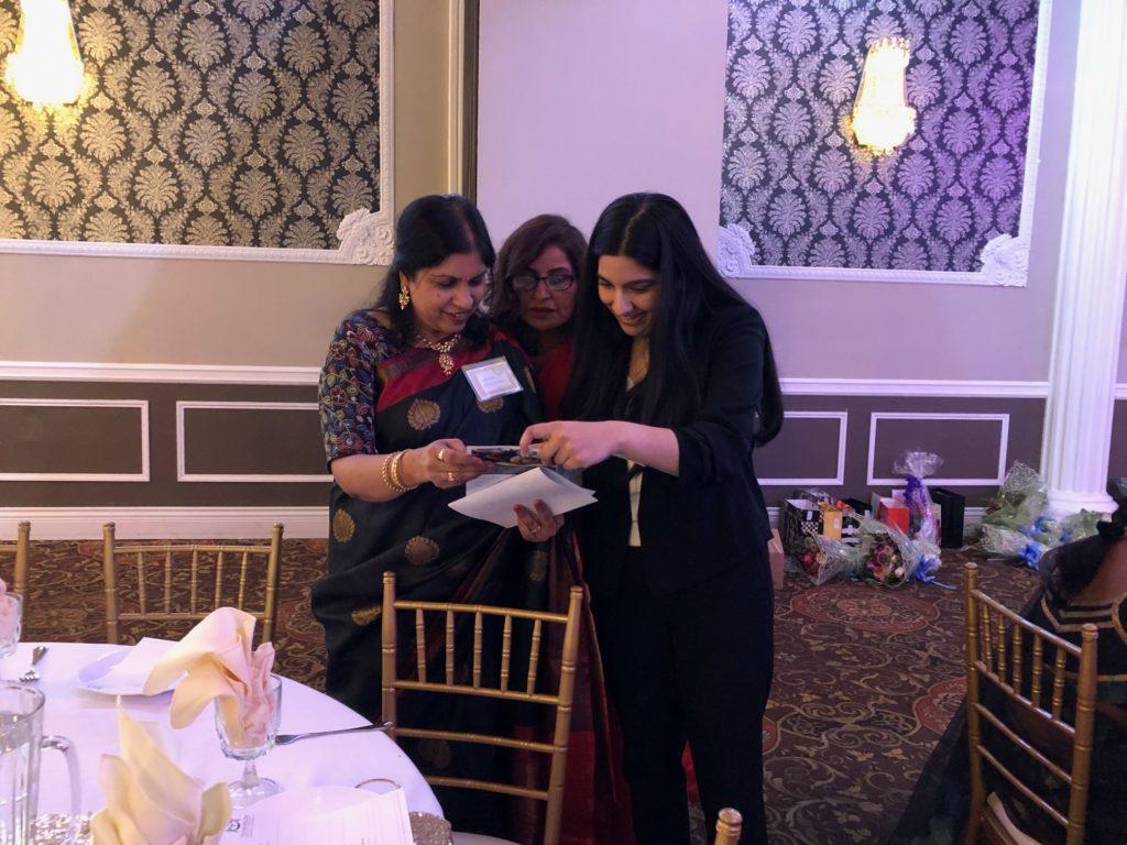 Raheesa with ROI Gala Committee Chair Kamala Cherukupalli and Nina Vellani, supporter and fundraiser at the 2019 Two Worlds Cancer Rhythm of India Gala